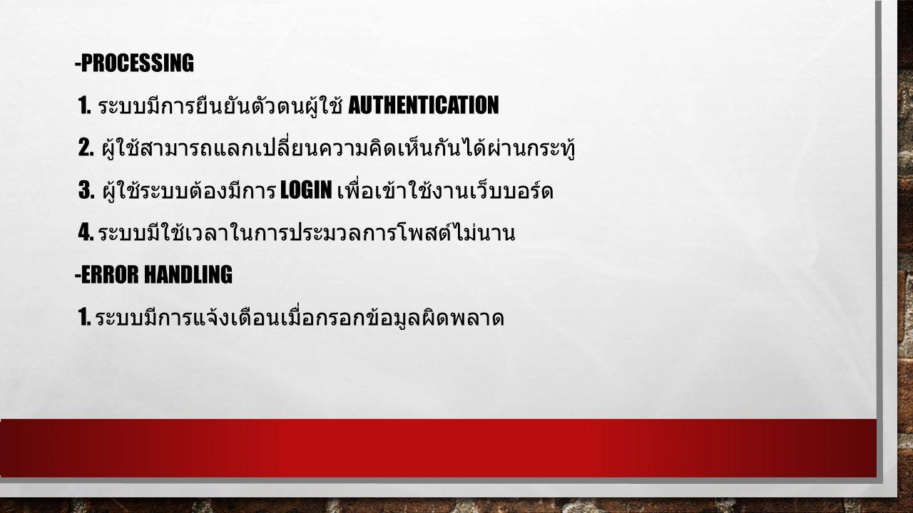 -PROCESSING 1. ระบบมีการยืนยันตัวตนผู้ใช้ AUTHENTICATION 2.