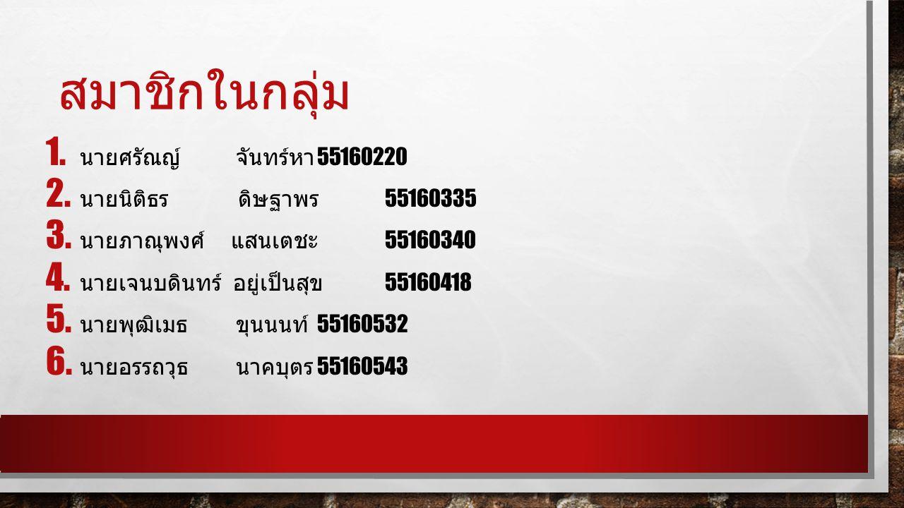 สมาชิกในกลุ่ม 1. นายศรัณญ์ จันทร์หา 55160220 2. นายนิติธร ดิษฐาพร 55160335 3.