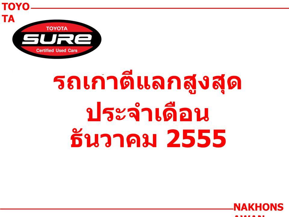 รถเก่าตีแลกสูงสุด ประจำเดือน ธันวาคม 2555 TOYO TA NAKHONS AWAN