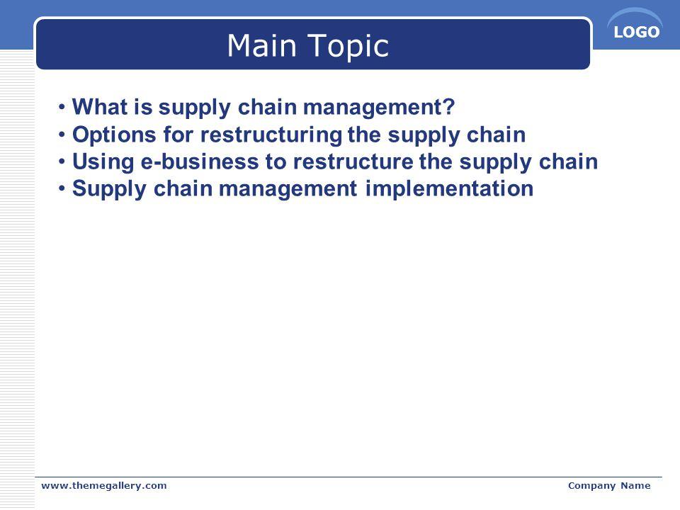 LOGO Supply Chain Management  การจัดการกลุ่มของกิจกรรมงาน กล่าวคือ ตั้งแต่การ รับวัตถุดิบมาจาก Supplies แล้วเปลี่ยนวัตถุดิบนั้นให้ เป็นสินค้าขั้นกลาง และสินค้าขั้นสุดท้าย จนกระทั่ง จัดส่งสินค้าให้แก่ลูกค้า www.themegallery.comCompany Name