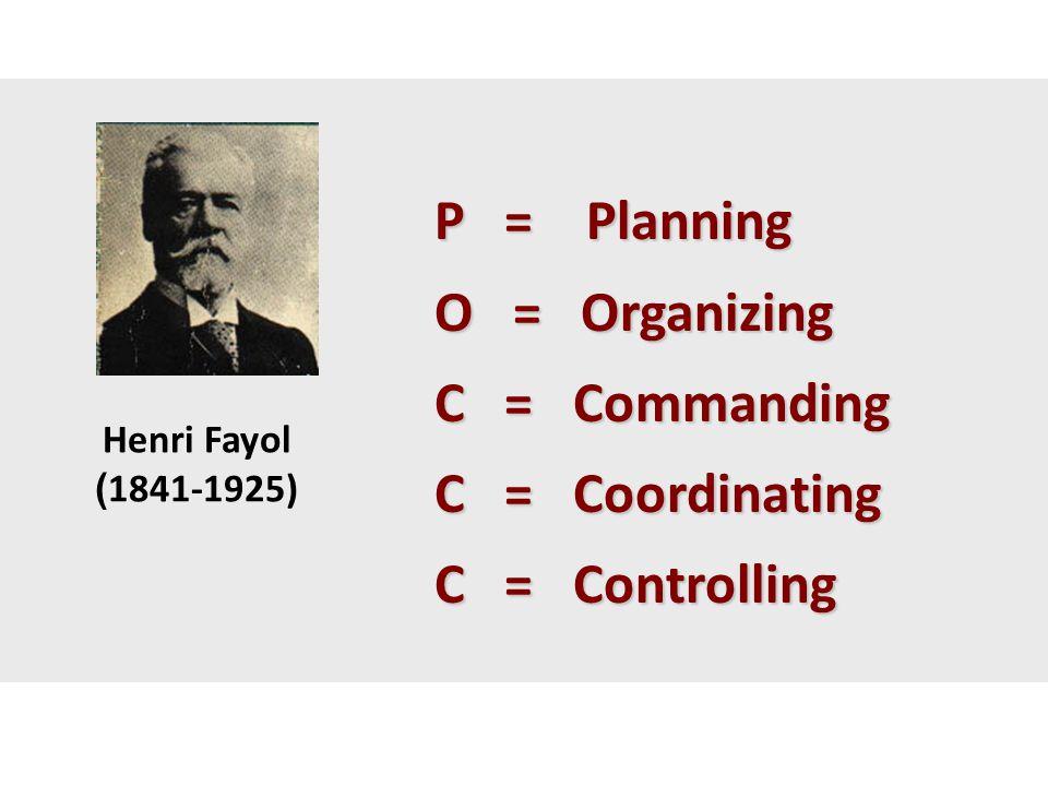 P = Planning P = Planning O = Organizing O = Organizing C = Commanding C = Commanding C = Coordinating C = Coordinating C = Controlling C = Controllin