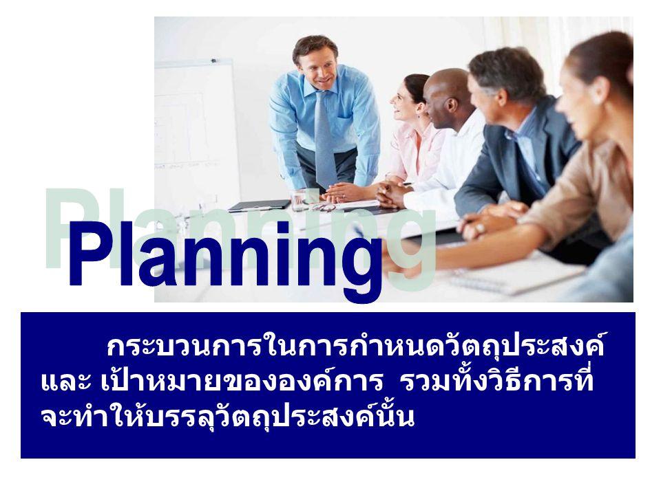 กระบวนการในการกำหนดวัตถุประสงค์ และ เป้าหมายขององค์การ รวมทั้งวิธีการที่ จะทำให้บรรลุวัตถุประสงค์นั้น
