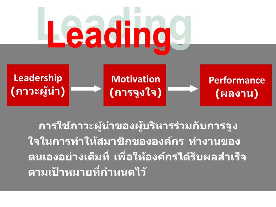 Leadership ( ภาวะผู้นำ ) การใช้ภาวะผู้นำของผู้บริหารร่วมกับการจูง ใจในการทำให้สมาชิกขององค์กร ทำงานของ ตนเองอย่างเต็มที่ เพื่อให้องค์กรได้รับผลสำเร็จ