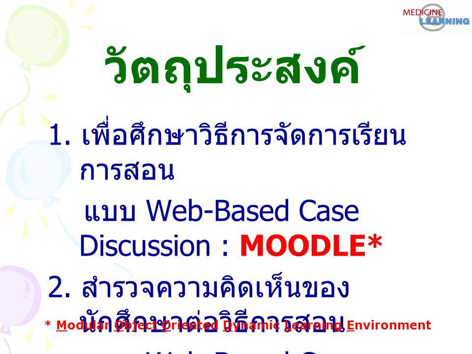 วัตถุประสงค์ 1. เพื่อศึกษาวิธีการจัดการเรียน การสอน แบบ Web-Based Case Discussion : MOODLE* 2.