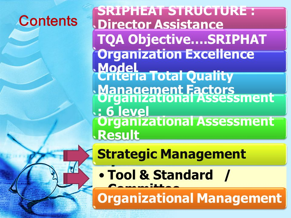 SRIPHEAT STRUCTURE : Director Assistance TQA Objective….SRIPHAT Organization Excellence Model Criteria Total Quality Management Factors Organizational Assessment : 6 level Organizational Assessment Result Strategic Management Tool & Standard / Committee Organizational Management Contents
