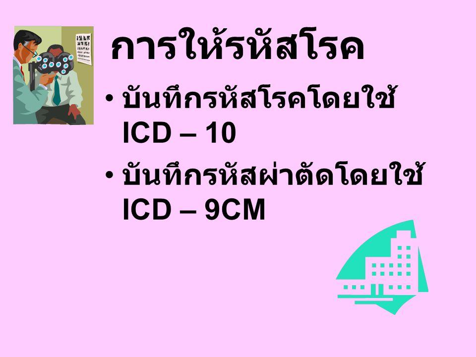 การให้รหัสโรค บันทึกรหัสโรคโดยใช้ ICD – 10 บันทึกรหัสผ่าตัดโดยใช้ ICD – 9CM