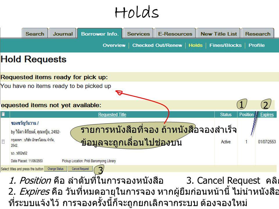 Holds 1. Position คือ ลำดับที่ในการจองหนังสือ 3. Cancel Request คลิกถ้าต้องการยกเลิกการจอง 2. Expires คือ วันที่หมดอายุในการจอง หากผู้ยืมก่อนหน้านี้ ไ