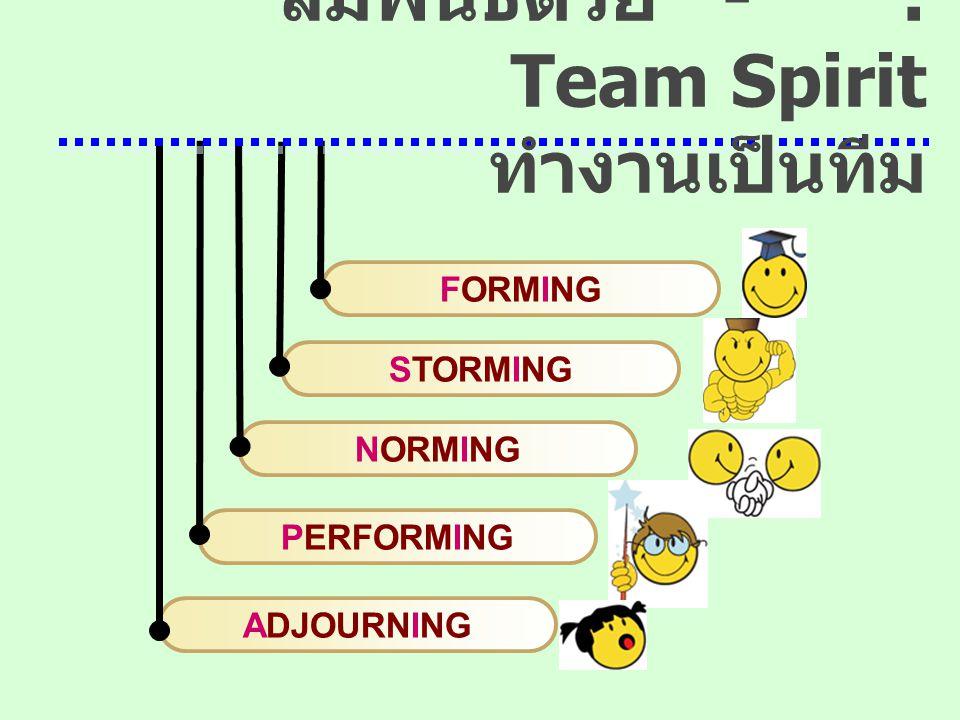 ADJOURNING PERFORMING NORMING STORMING FORMING สัมพันธ์ด้วย - : Team Spirit ทำงานเป็นทีม