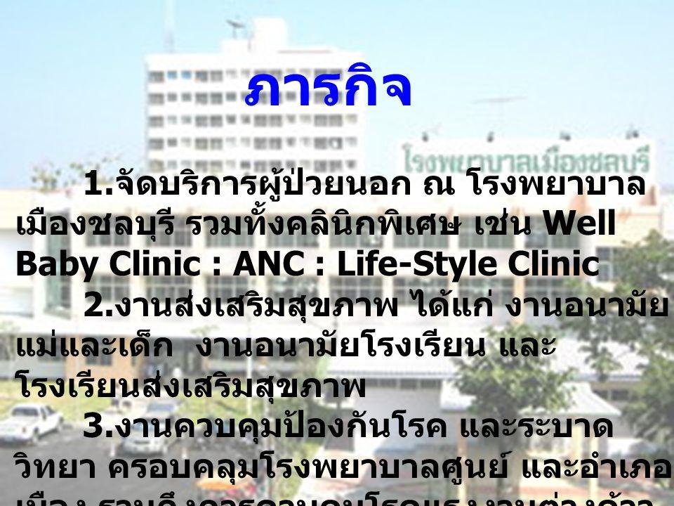 1. จัดบริการผู้ป่วยนอก ณ โรงพยาบาล เมืองชลบุรี รวมทั้งคลินิกพิเศษ เช่น Well Baby Clinic : ANC : Life-Style Clinic 2. งานส่งเสริมสุขภาพ ได้แก่ งานอนามั
