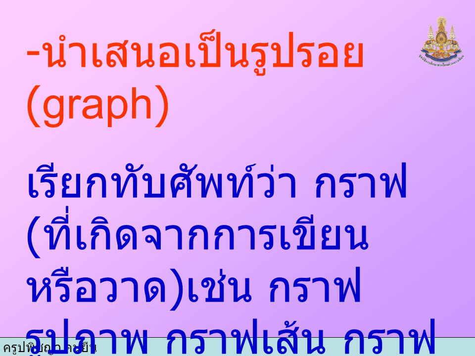 ครูปพิชญา คนยืน - นำเสนอเป็นรูปรอย (graph) เรียกทับศัพท์ว่า กราฟ ( ที่เกิดจากการเขียน หรือวาด ) เช่น กราฟ รูปภาพ กราฟเส้น กราฟ แท่ง หรือกราฟวงกลม ที่เ