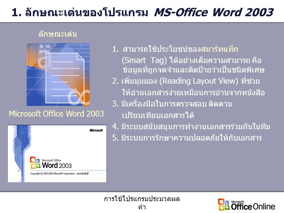 การใช้โปรแกรมประมวลผล คำ 2.การเข้าสู่โปรแกรม Microsoft Office Word 2003 1.คลิกที่ปุ่ม 2.