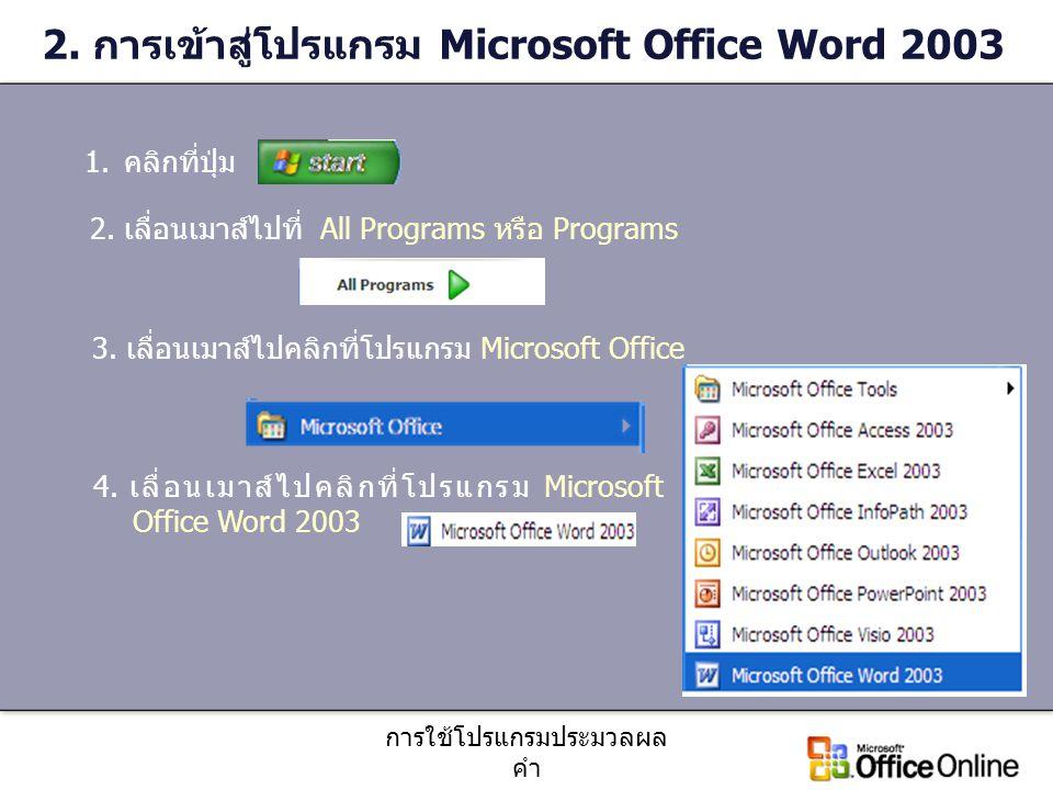 การใช้โปรแกรมประมวลผล คำ 2. การเข้าสู่โปรแกรม Microsoft Office Word 2003 1.คลิกที่ปุ่ม 2. เลื่อนเมาส์ไปที่ All Programs หรือ Programs 3. เลื่อนเมาส์ไป