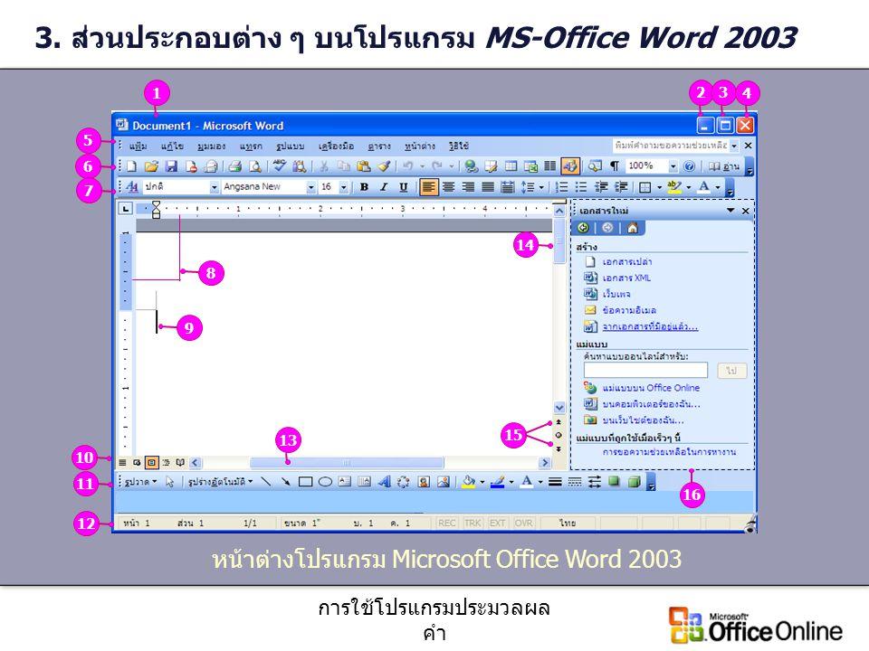 การใช้โปรแกรมประมวลผล คำ 3. ส่วนประกอบต่าง ๆ บนโปรแกรม MS-Office Word 2003 หน้าต่างโปรแกรม Microsoft Office Word 2003 8123456791011121314 15 16