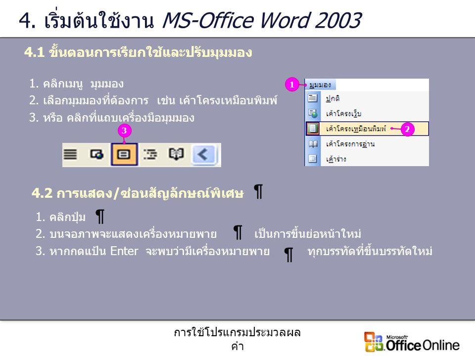 การใช้โปรแกรมประมวลผล คำ 4. เริ่มต้นใช้งาน MS-Office Word 2003 4.1 ขั้นตอนการเรียกใช้และปรับมุมมอง 1. คลิกเมนู มุมมอง 2. เลือกมุมมองที่ต้องการ เช่น เค