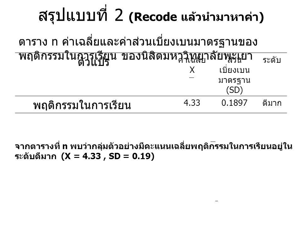 สรุปแบบที่ 2 (Recode แล้วนำมาหาค่า ) ตัวแปร ค่าเฉลี่ย X ส่วน เบี่ยงเบน มาตรฐาน (SD) ระดับ พฤติกรรมในการเรียน 4.330.1897 ดีมาก ตาราง n ค่าเฉลี่ยและค่าส