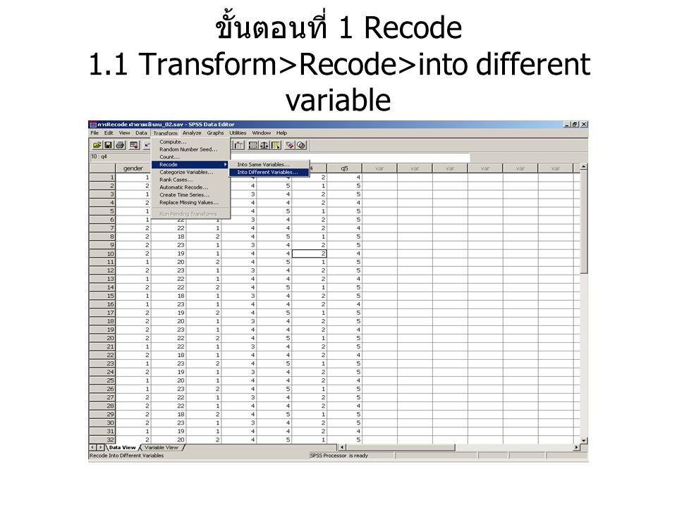 ขั้นตอนที่ 1 Recode 1.1 Transform>Recode>into different variable