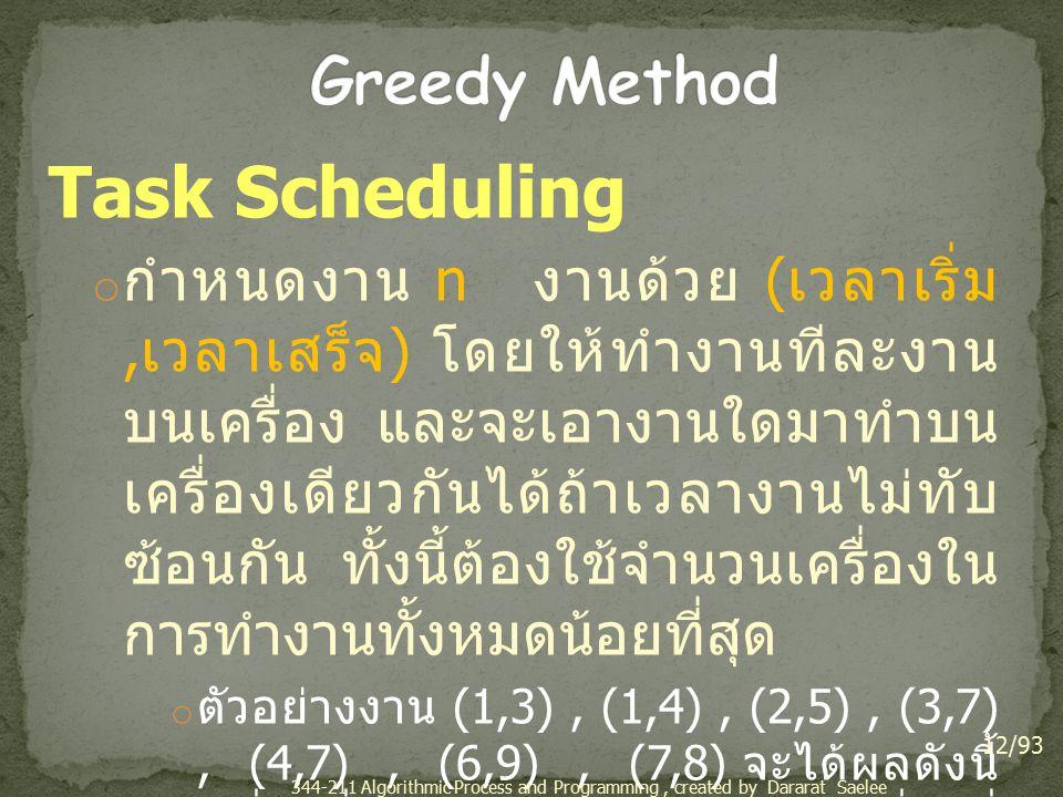 Task Scheduling o กำหนดงาน n งานด้วย ( เวลาเริ่ม, เวลาเสร็จ ) โดยให้ทำงานทีละงาน บนเครื่อง และจะเอางานใดมาทำบน เครื่องเดียวกันได้ถ้าเวลางานไม่ทับ ซ้อนกัน ทั้งนี้ต้องใช้จำนวนเครื่องใน การทำงานทั้งหมดน้อยที่สุด o ตัวอย่างงาน (1,3), (1,4), (2,5), (3,7), (4,7), (6,9), (7,8) จะได้ผลดังนี้ เครื่องที่ 1 : (1,3), (3,7), (7,8) เครื่องที่ 2 : (1,4), (4,7) และเครื่องที่ 3 : (2,5), (6,9) 12/93 344-211 Algorithmic Process and Programming, created by Dararat Saelee