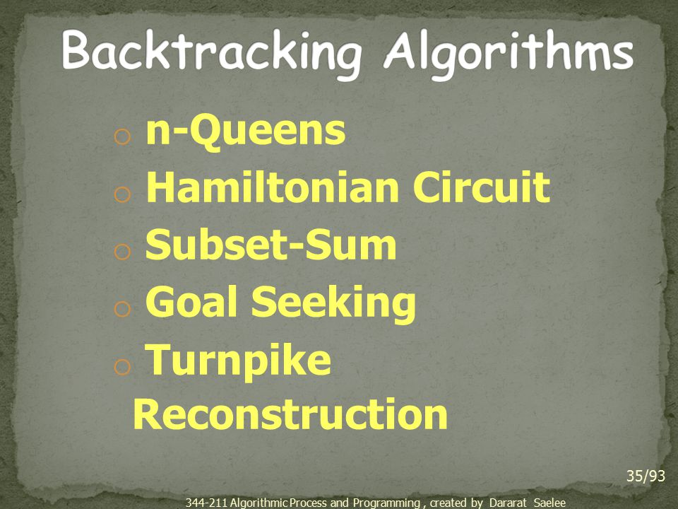 o n-Queens o Hamiltonian Circuit o Subset-Sum o Goal Seeking o Turnpike Reconstruction 35/93 344-211 Algorithmic Process and Programming, created by D
