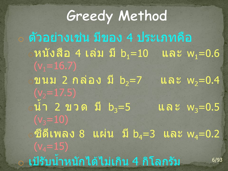 o ตัวอย่างเช่น มีของ 4 ประเภทคือ o หนังสือ 4 เล่ม มี b 1 =10 และ w 1 =0.6 (v 1 =16.7) o ขนม 2 กล่อง มี b 2 =7 และ w 2 =0.4 (v 2 =17.5) o น้ำ 2 ขวด มี b 3 =5 และ w 3 =0.5 (v 3 =10) o ซีดีเพลง 8 แผ่น มี b 4 =3 และ w 4 =0.2 (v 4 =15) o เป้รับน้ำหนักได้ไม่เกิน 4 กิโลกรัม o เลือก ขนม 2 กล่อง หนังสือ 4 เล่ม และ ซีดีเพลง 4 แผ่น o ได้ค่าความสำคัญสูงสุดและน้ำหนักไม่เกิน 4 กิโลกรัม 6/93