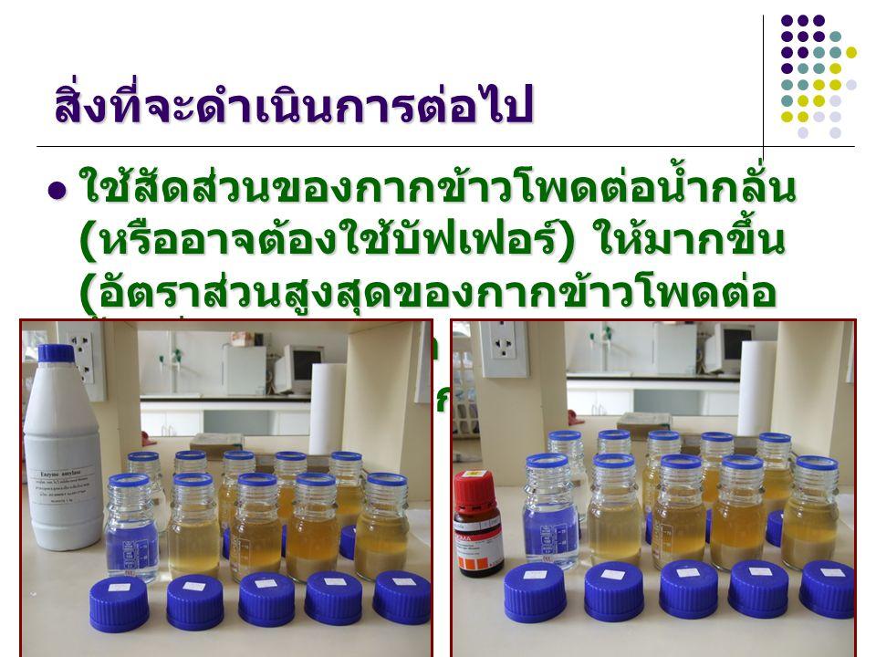 สิ่งที่จะดำเนินการต่อไป ใช้สัดส่วนของกากข้าวโพดต่อน้ำกลั่น ( หรืออาจต้องใช้บัฟเฟอร์ ) ให้มากขึ้น ( อัตราส่วนสูงสุดของกากข้าวโพดต่อ น้ำกลั่น (g:ml) คือ