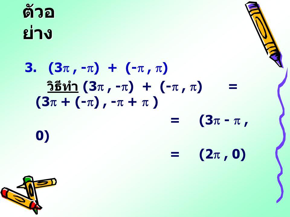 ตัวอ ย่าง 3. (3 , -  ) + (- ,  ) วิธีทำ (3 , -  ) + (- ,  )= (3  + (-  ), -  +  ) = (3  - , 0) = (2 , 0)