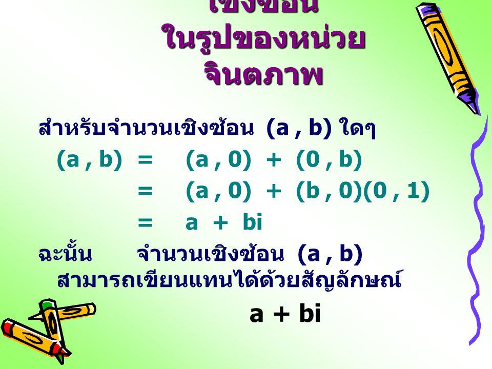 การเขียนจำนวน เชิงซ้อน ในรูปของหน่วย จินตภาพ สำหรับจำนวนเชิงซ้อน (a, b) ใดๆ (a, b) = (a, 0) + (0, b) =(a, 0) + (b, 0)(0, 1) =a + bi ฉะนั้น จำนวนเชิงซ้