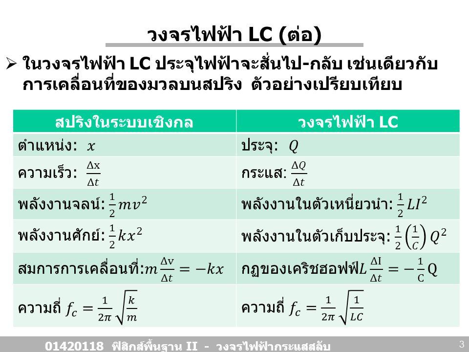 วงจรไฟฟ้า LC ( ต่อ )  ในวงจรไฟฟ้า LC ประจุไฟฟ้าจะสั่นไป - กลับ เช่นเดียวกับ การเคลื่อนที่ของมวลบนสปริง ตัวอย่างเปรียบเทียบ 01420118 ฟิสิกส์พื้นฐาน II