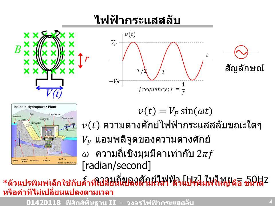 ไฟฟ้ากระแสสลับ 01420118 ฟิสิกส์พื้นฐาน II - วงจรไฟฟ้ากระแสสลับ 4 * ตัวแปรพิมพ์เล็กใช้กับค่าที่เปลี่ยนแปลงตามเวลา ตัวแปรพิมพ์ใหญ่ คือ ขนาด หรือค่าที่ไม