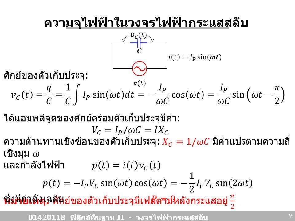 สรุปความสัมพันธ์ 01420118 ฟิสิกส์พื้นฐาน II - วงจรไฟฟ้ากระแสสลับ 10 อุปกรณ์สัญลักษณ์ความต่างศักย์ เฟสระหว่าง I Vs V ความต้านทาน เชิงซ้อน ตัว ต้านทาน เฟสตรงกัน ตัวเก็บ ประจุ ตัว เหนี่ยวนำ