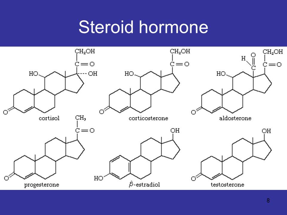 9 แบ่งเป็น 5 class 1.Progestins (progesterone) ควบคุมปฏิกิริยา ต่าง ๆ ระหว่างการตั้งครรภ์ 2.Glucocorticoids (cortisol and corticosterone) ส่งเสริมการเกิด gluconeogenesis และ ยับยั้งอาการอักเสบ 3.Mineralocorticoids (aldosterone) ควบคุม สมดุลไอออน โดยส่งเสริมการดูดซึมกลับของ K +, Na +, Cl - และ HCO 3 - ในไต