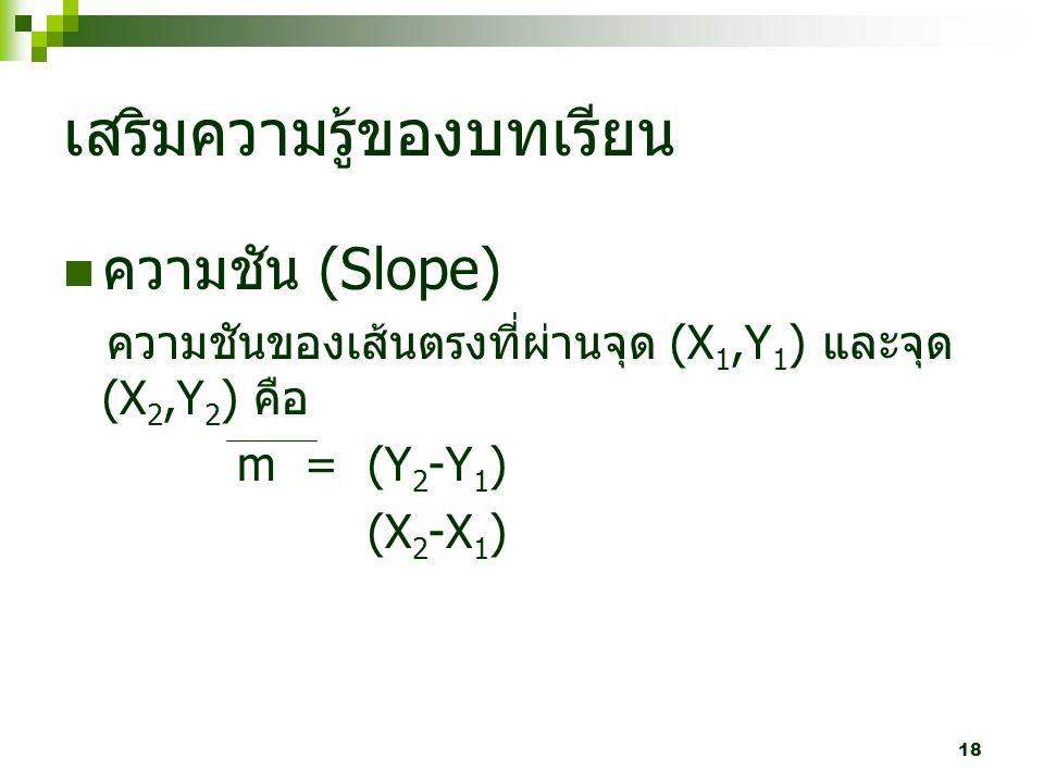 18 เสริมความรู้ของบทเรียน ความชัน (Slope) ความชันของเส้นตรงที่ผ่านจุด (X 1,Y 1 ) และจุด (X 2,Y 2 ) คือ m = (Y 2 -Y 1 ) (X 2 -X 1 )