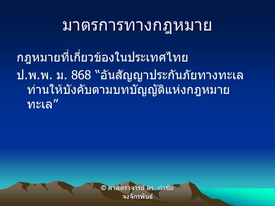 """มาตรการทางกฎหมาย กฎหมายที่เกี่ยวข้องในประเทศไทย ป. พ. พ. ม. 868 """" อันสัญญาประกันภัยทางทะเล ท่านให้บังคับตามบทบัญญัติแห่งกฎหมาย ทะเล """" © ศาสตราจารย์ ดร"""