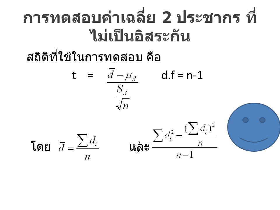 การทดสอบค่าเฉลี่ย 2 ประชากร ที่ ไม่เป็นอิสระกัน สถิติที่ใช้ในการทดสอบ คือ t = d.f = n-1 โดย และ