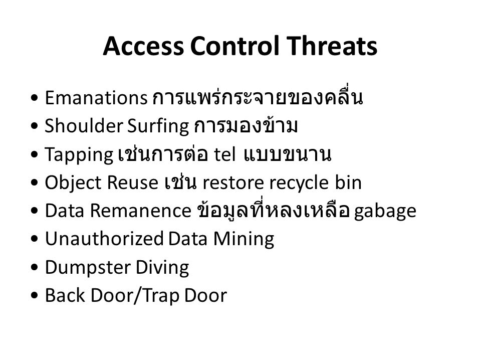 Access Control Threats Theft ขโมย Intruders ผู้บุกรุก Social Engineering