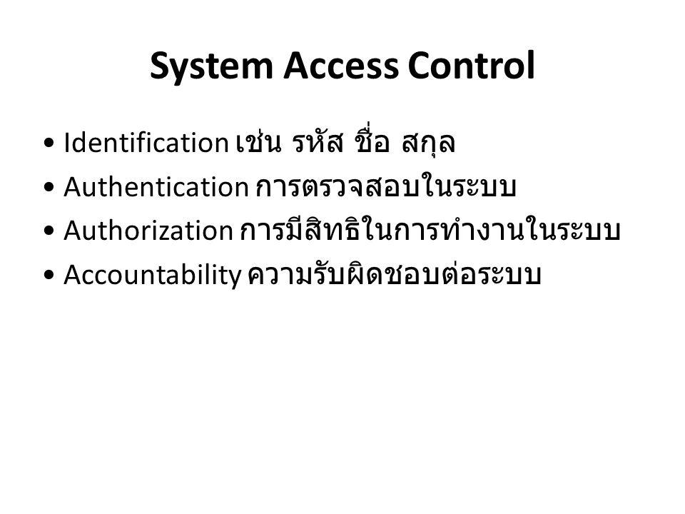 System Access Control Identification เช่น รหัส ชื่อ สกุล Authentication การตรวจสอบในระบบ Authorization การมีสิทธิในการทำงานในระบบ Accountability ความร
