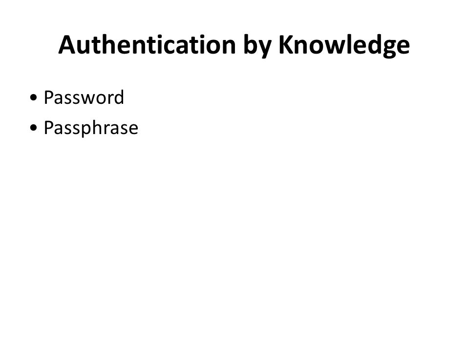 Authentication by Knowledge Password Passphrase