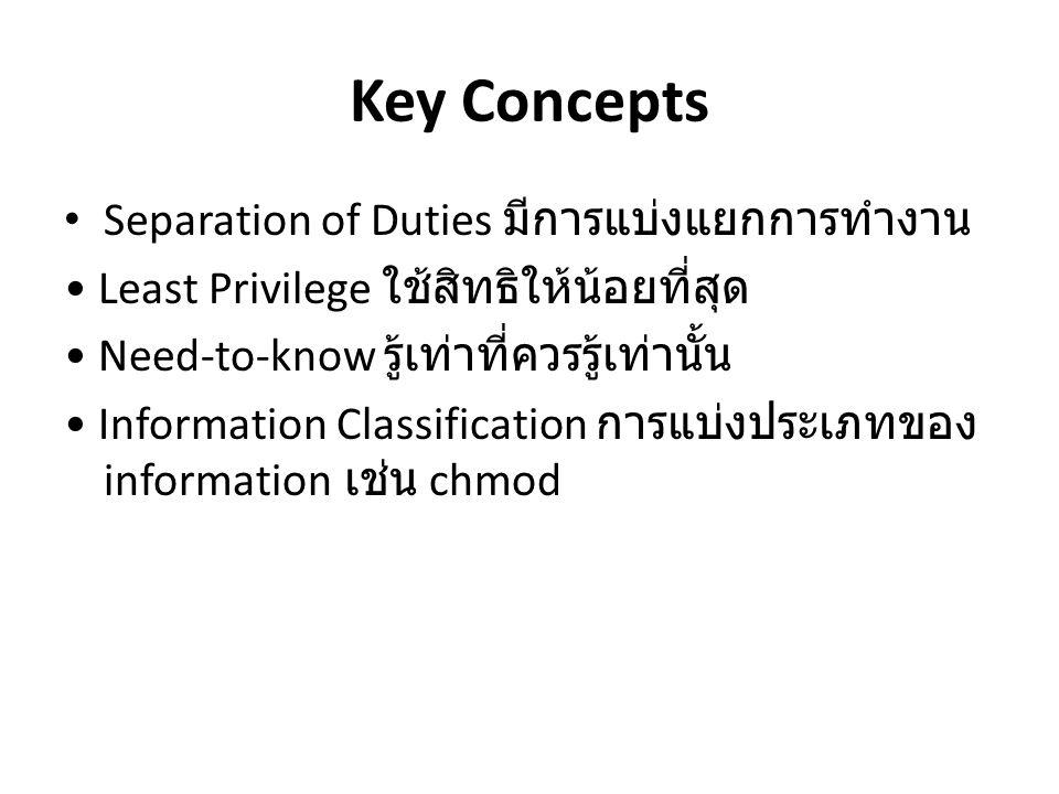 Key Concepts Separation of Duties มีการแบ่งแยกการทำงาน Least Privilege ใช้สิทธิให้น้อยที่สุด Need-to-know รู้เท่าที่ควรรู้เท่านั้น Information Classif