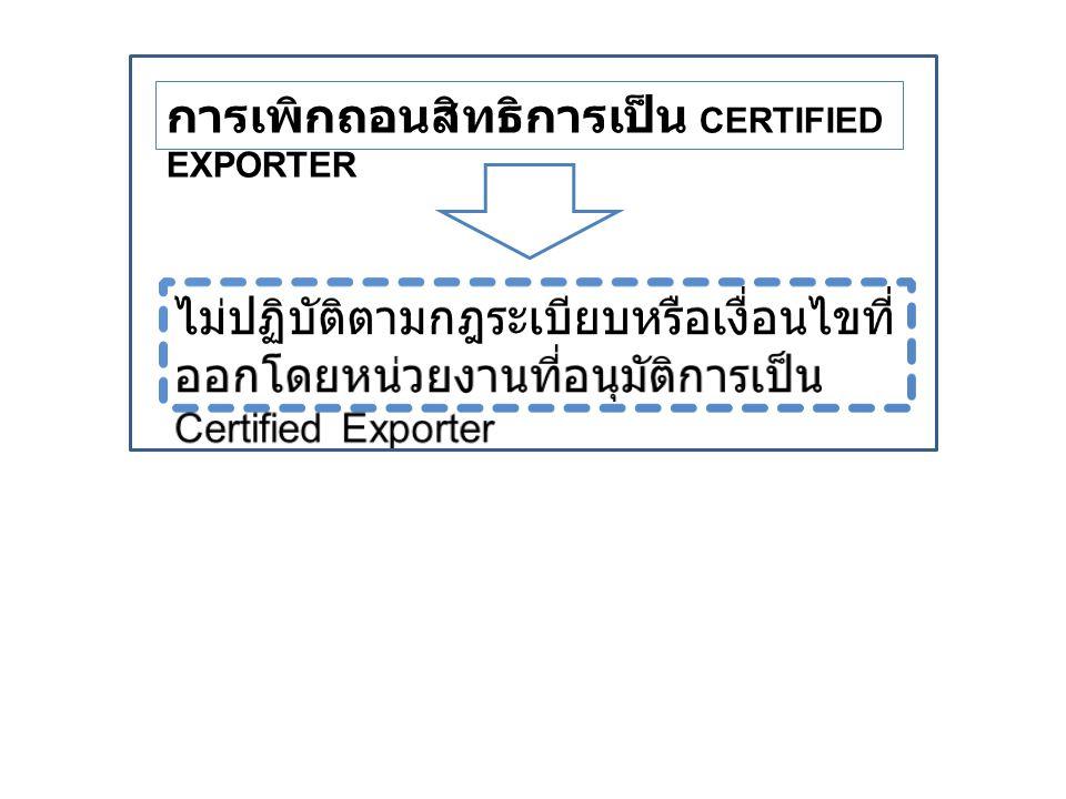 การเพิกถอนสิทธิการเป็น CERTIFIED EXPORTER