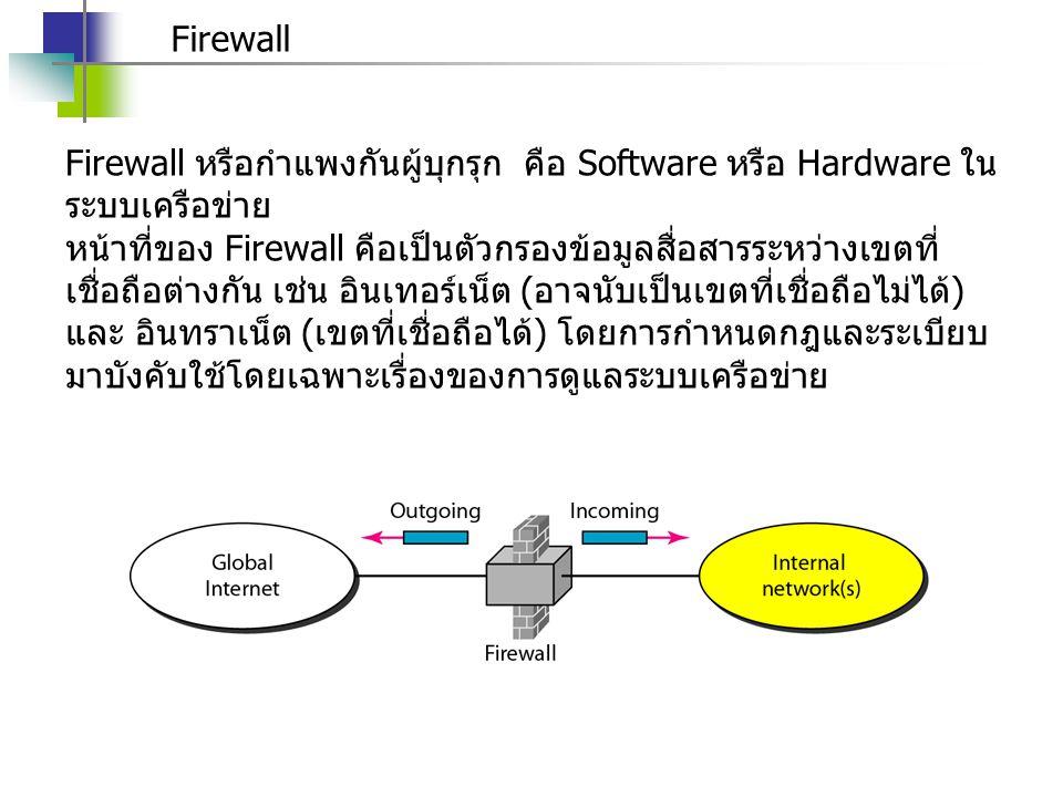 Firewall Firewall หรือกำแพงกันผู้บุกรุก คือ Software หรือ Hardware ใน ระบบเครือข่าย หน้าที่ของ Firewall คือเป็นตัวกรองข้อมูลสื่อสารระหว่างเขตที่ เชื่อ