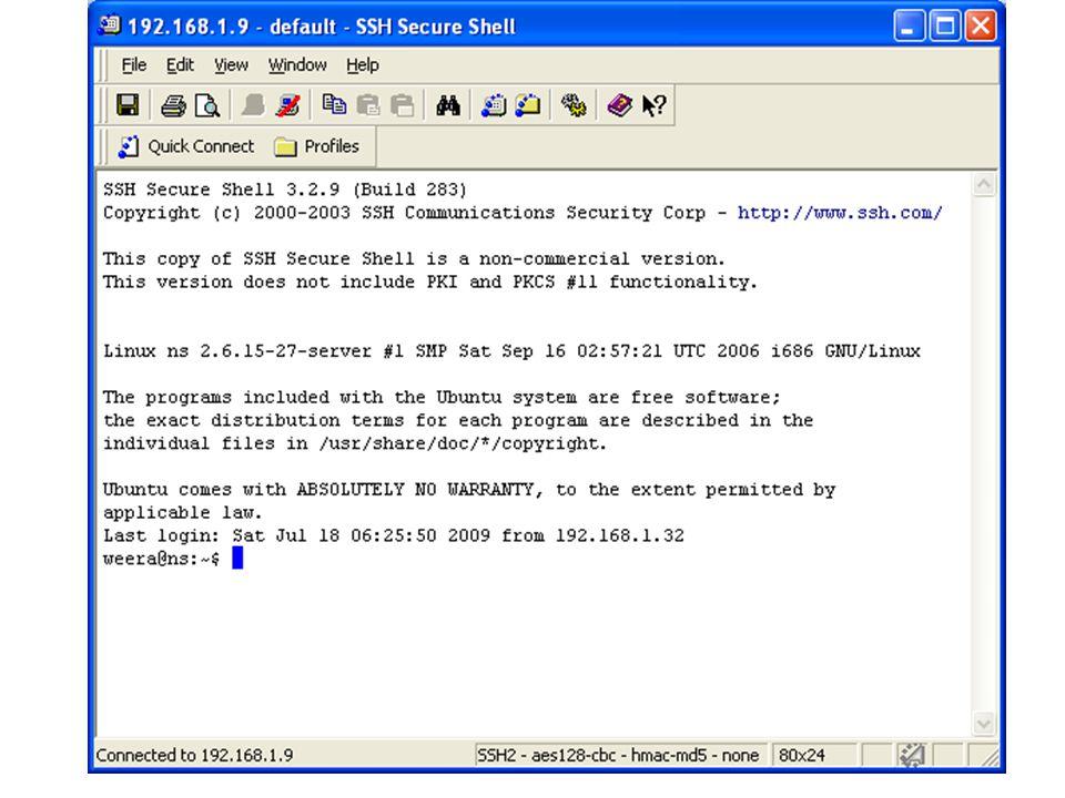 การสร้างงาน ต้องสร้างไดเรกทอรีชื่อ www ก่อน ใช้คำสั่ง mkdir www ให้เข้าสู่ไดเรกทอรี www ด้วยคำสั่ง cd www ใช้คำสั่ง pico index.html พิมพ์คำสั่งต่อไป แต่เปลี่ยนเป็นชื่อของนักเรียนเอง Hello I'm Weera กด Ctrl + x กด y กด enter