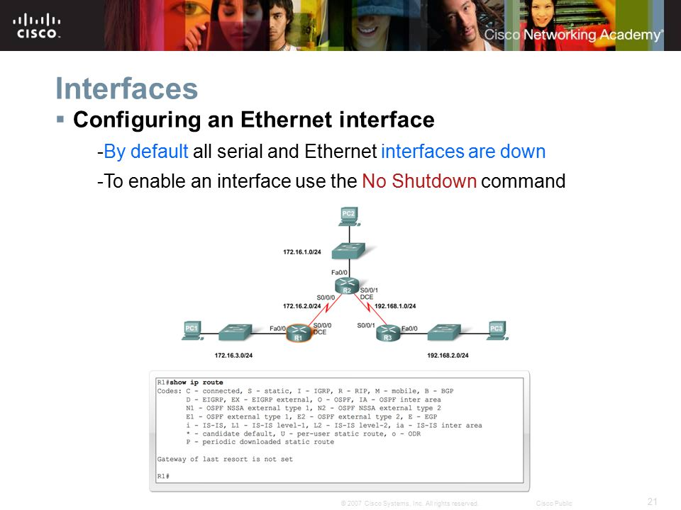 21 © 2007 Cisco Systems, Inc. All rights reserved.Cisco Public Interfaces  Configuring an Ethernet interface -By default all serial and Ethernet inte