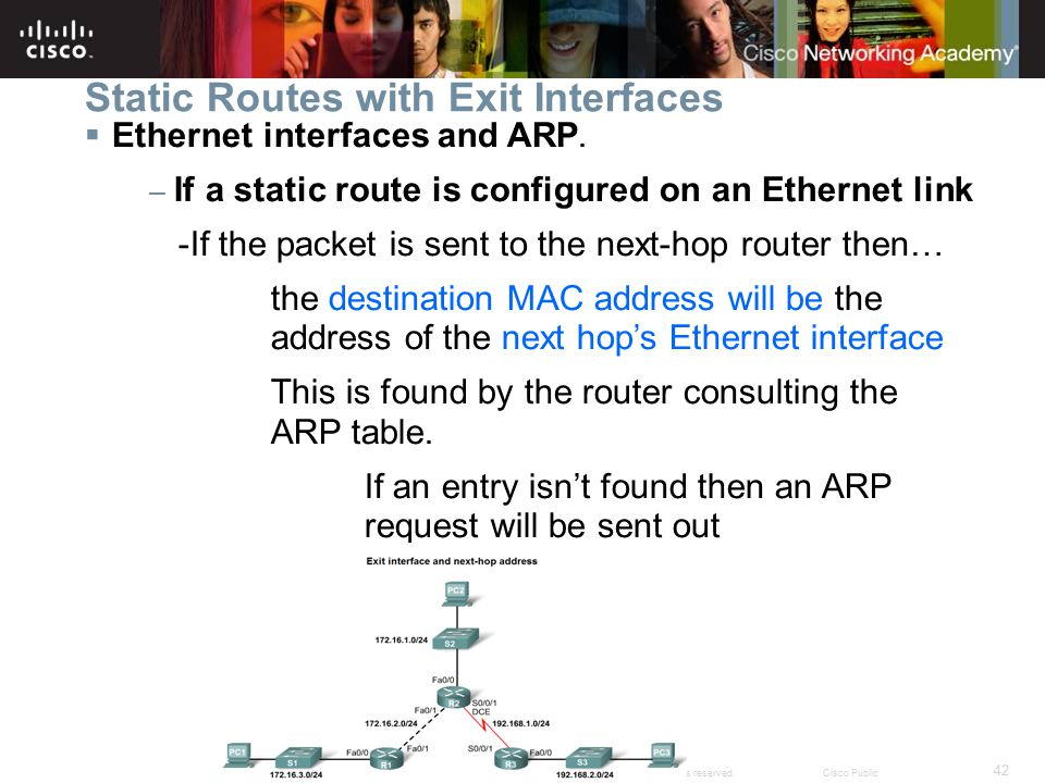 42 © 2007 Cisco Systems, Inc. All rights reserved.Cisco Public Static Routes with Exit Interfaces  Ethernet interfaces and ARP. – If a static route i