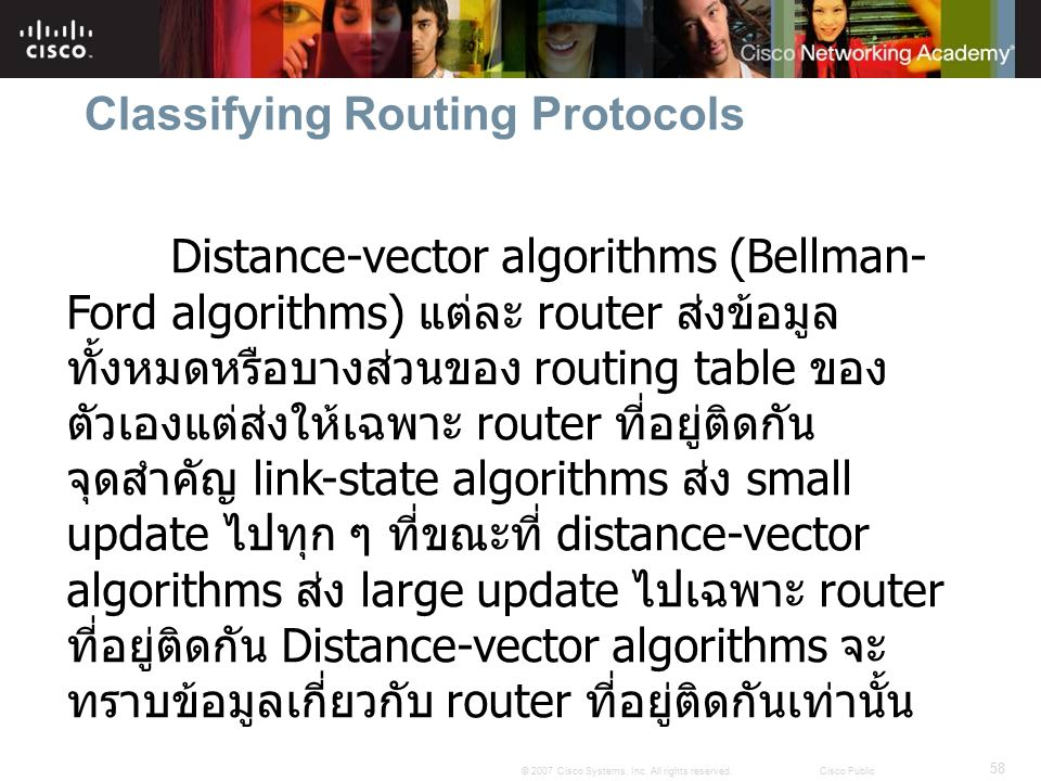 58 © 2007 Cisco Systems, Inc. All rights reserved.Cisco Public Classifying Routing Protocols Distance-vector algorithms (Bellman- Ford algorithms) แต่