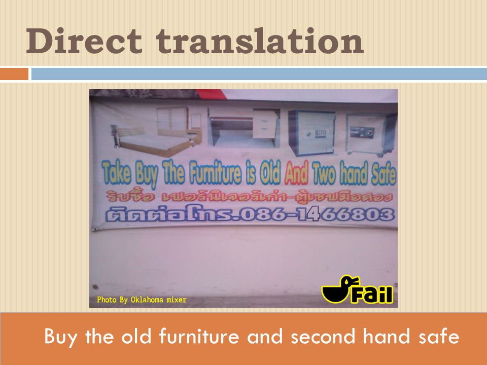 Buy the old furniture and second hand safe Direct translation