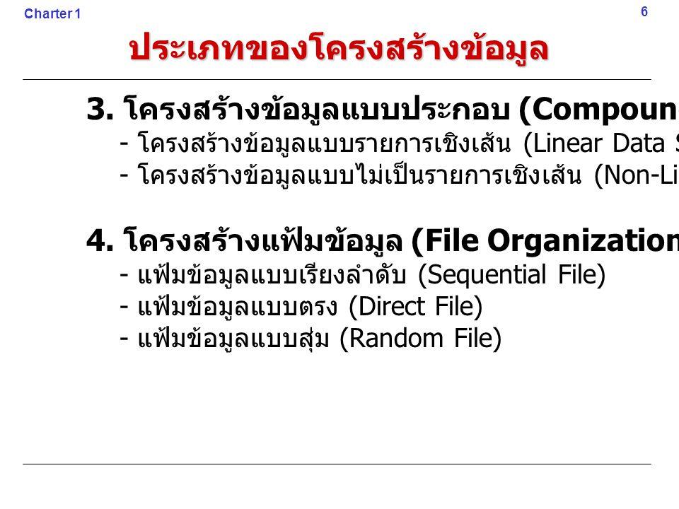 ประเภทของโครงสร้างข้อมูล 3. โครงสร้างข้อมูลแบบประกอบ (Compound Data Structure) - โครงสร้างข้อมูลแบบรายการเชิงเส้น (Linear Data Structure) - โครงสร้างข