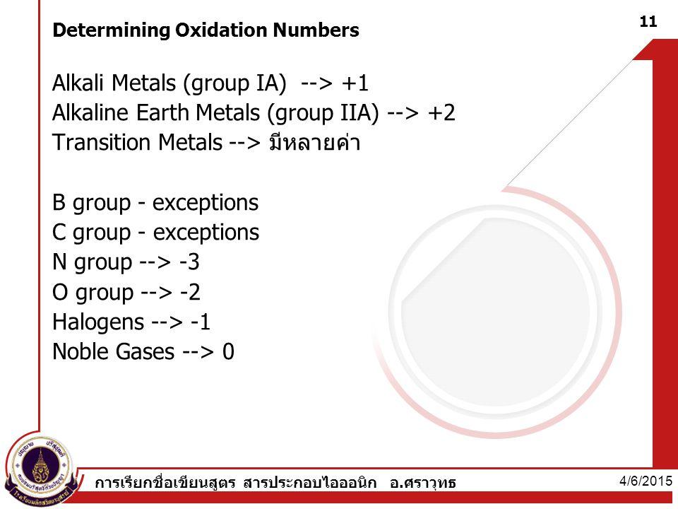 Determining Oxidation Numbers Alkali Metals (group IA) --> +1 Alkaline Earth Metals (group IIA) --> +2 Transition Metals --> มีหลายค่า B group - exceptions C group - exceptions N group --> -3 O group --> -2 Halogens --> -1 Noble Gases --> 0 4/6/2015 11 การเรียกชื่อเขียนสูตร สารประกอบไอออนิก อ.ศราวุทธ