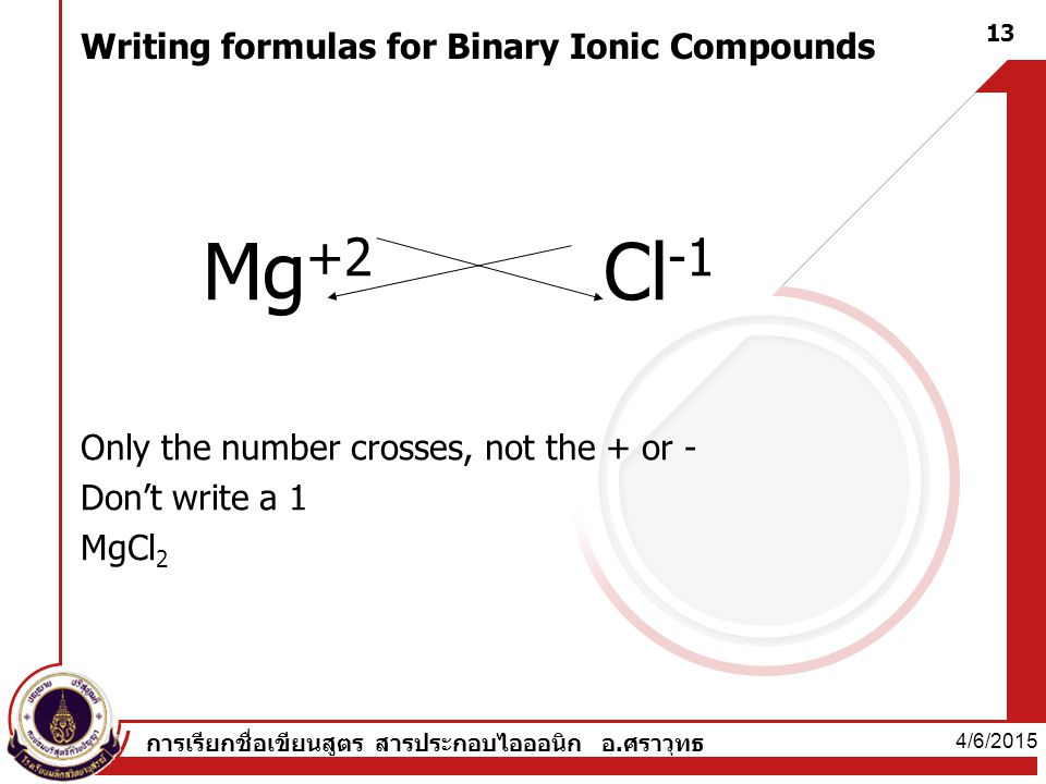 Writing formulas for Binary Ionic Compounds Mg +2 Cl -1 Only the number crosses, not the + or - Don't write a 1 MgCl 2 4/6/2015 13 การเรียกชื่อเขียนสูตร สารประกอบไอออนิก อ.ศราวุทธ
