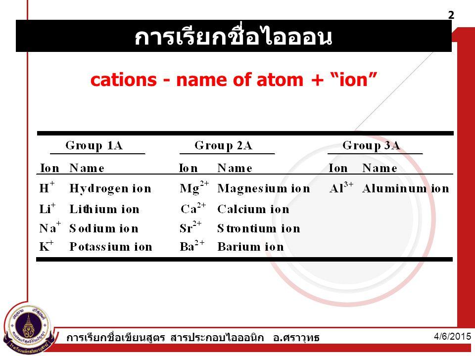 4/6/2015 การเรียกชื่อเขียนสูตร สารประกอบไอออนิก อ.ศราวุทธ 2 cations - name of atom + ion การเรียกชื่อไอออน