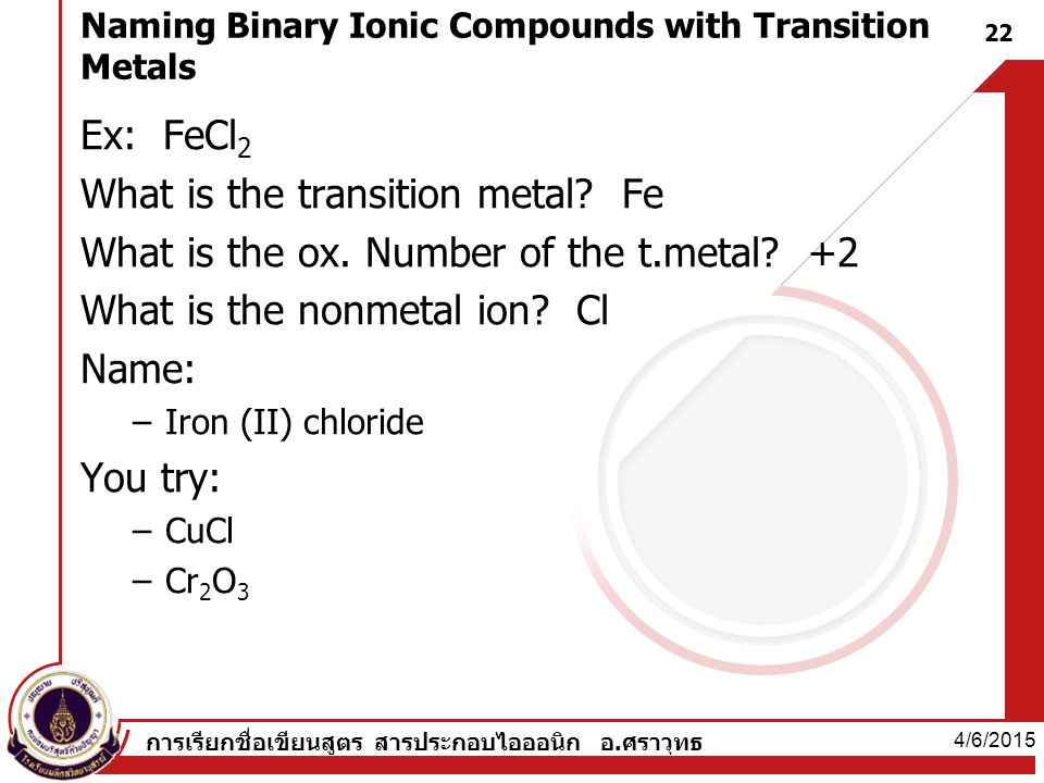 Naming Binary Ionic Compounds with Transition Metals Ex: FeCl 2 What is the transition metal.