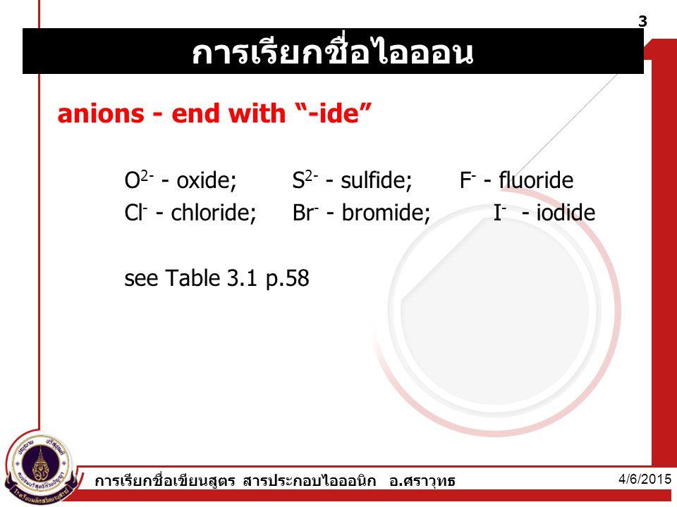 4/6/2015 การเรียกชื่อเขียนสูตร สารประกอบไอออนิก อ.ศราวุทธ 3 anions - end with -ide O 2- - oxide; S 2- - sulfide;F - - fluoride Cl - - chloride; Br - - bromide; I - - iodide see Table 3.1 p.58 การเรียกชื่อไอออน